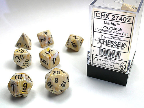 Chessex Polyhedral Set Marble Ivory/Black 27402