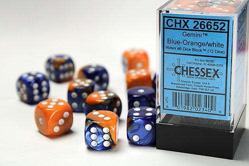 Chessex 12D6 Set Gemini Blue-Orange/White