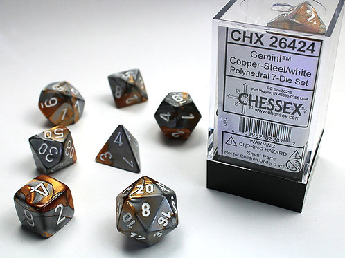 Chessex Polyhedral Set Gemini Copper-Steel/White 26424
