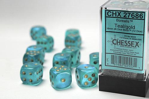 Chessex 12D6 Set Borealis Teal/Gold 27686