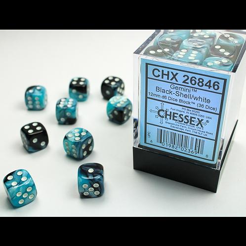 Chessex 36D6 Set Gemini Black-Shell/White 26846