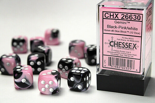 Chessex 12D6 Set Gemini Black-Pink/White 26630