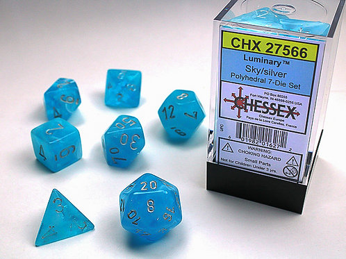 Chessex Polyhedral Set Luminary Sky/Silver 27566