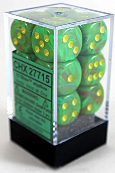 Chessex 12D6 Set Vortex Slime/Yellow 27715