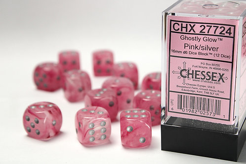 Chessex 12D6 Set Ghostly Glow Pink/Silver 27724