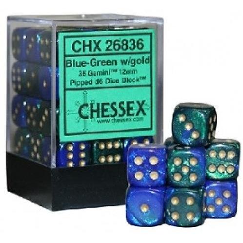 Chessex 36D6 Set Gemini Blue-Green/Gold 26836