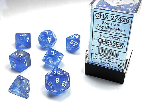Chessex Polyhedral Set Borealis Sky Blue/White 27426