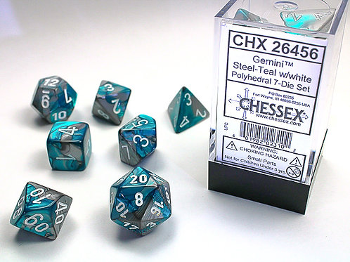 Chessex Polyhedral Set Gemini Steel-Teal/White 26456