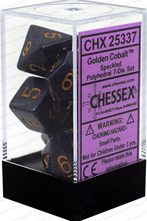 Chessex Polyhedral Set Speckled Golden Cobalt 25337