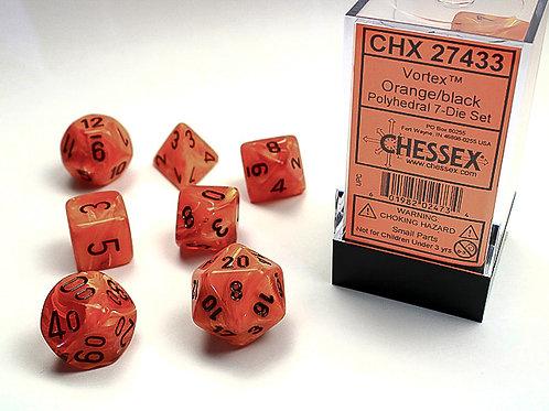 Chessex Polyhedral Set Vortex Orange/Black 27433