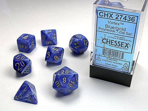 Chessex Polyhedral Set Vortex Blue/Gold 27436