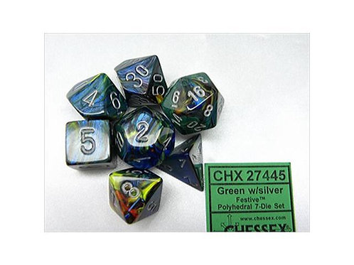 Chessex Polyhedral Set Festive Green/Silver 27445