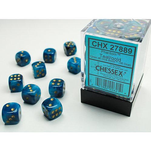 Chessex 36D6 Set Phantom Teal/Gold 27889