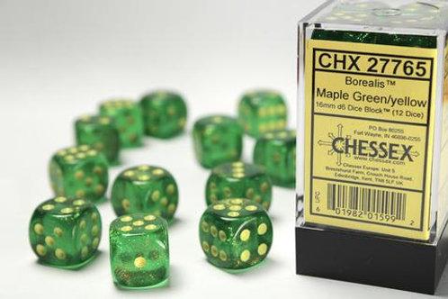 Chessex 12D6 Set Borealis Maple Green/Yellow 27765