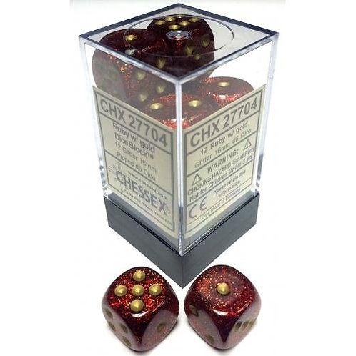 Chessex 12D6 Set Glitter Ruby Red/Gold 27504