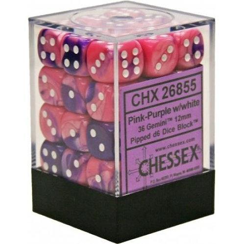Chessex 36D6 Set Gemini Pink-Purple/White 26855