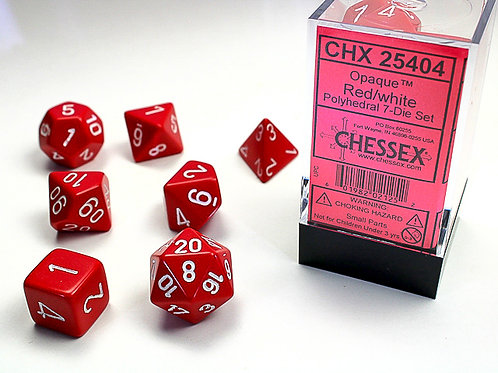 Chessex Polyhedral Set Opaque Red/White 25404