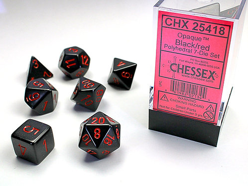 Chessex Polyhedral Set Opaque Black/Red 25418