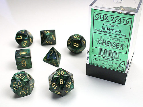 Chessex Polyhedral Set Scarab Jade/Gold 27415