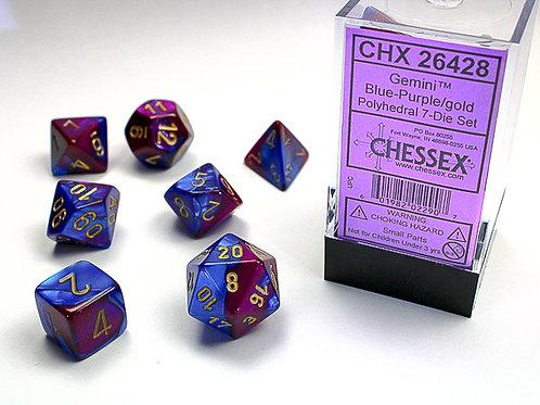 Chessex Polyhedral Set Gemini Blue-Purple/Gold 26428