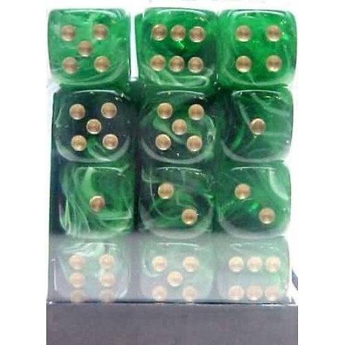 Chessex 36D6 Set Vortex Green/Gold 27835