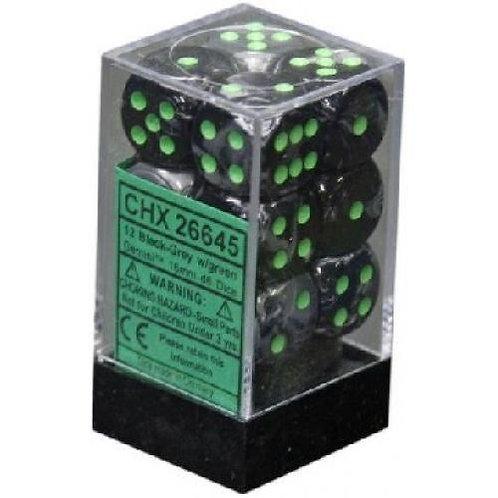 Chessex 12D6 Set Gemini Black-Grey/Green 26645