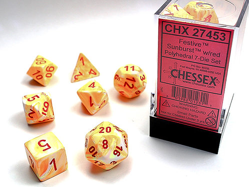 Chessex Polyhedral Set Festive Sunburst/Red 27453