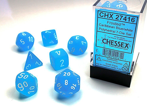 Chessex Polyhedral Set Frosted Caribbean Blue/White 27416
