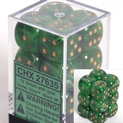 Chessex 12D6 Set Vortex Green w/ Gold 27635