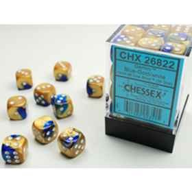 Chessex 36D6 Set Gemini Blue-Gold/White 26822
