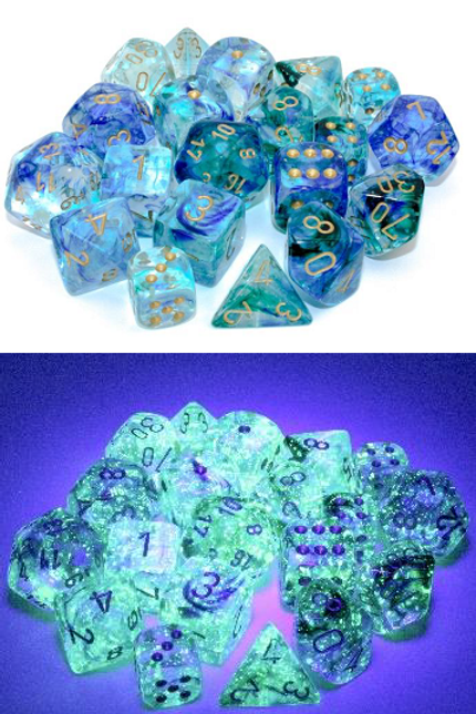 Chessex Polyhedral Set Luminary Nebula Oceanic/Gold 27556