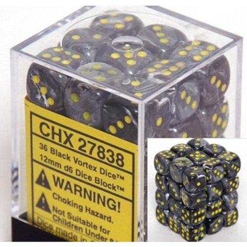 Chessex 36D6 Set Vortex Black/Yellow 27838