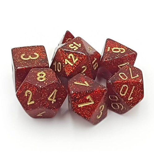 Chessex Polyhedral Set Glitter Ruby Red/Gold 27504