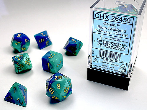 Chessex Polyhedral Set Gemini Blue-Teal/Gold 26459