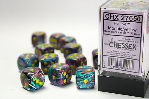 Chessex 12D6 Set Festive Mosaic/Yellow 27650