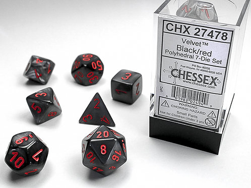 Chessex Polyhedral Set Velvet Black/Red 27478