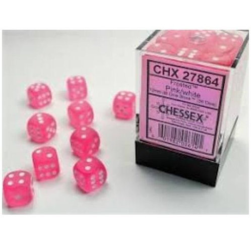 Chessex 36D6 Set Frosted Pink/White 27864