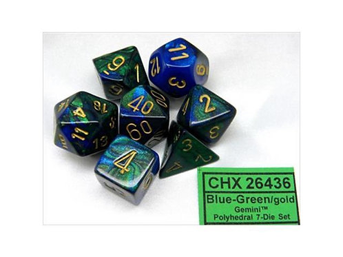Chessex Polyhedral Set Gemini Blue-Green/Gold 26436
