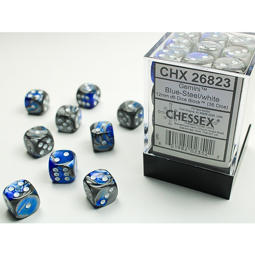 Chessex 36D6 Set Gemini Blue-Steel/White 26823