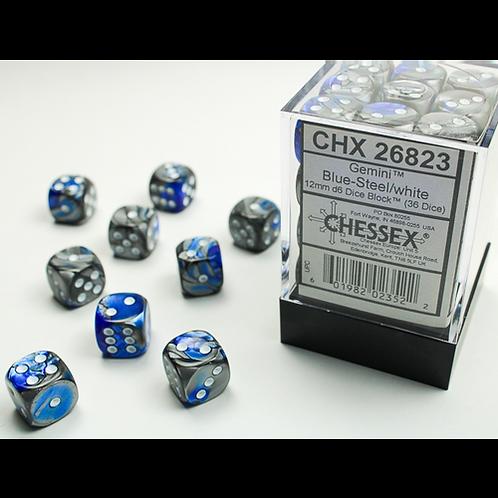 Chessex 36D6 Set Gemini Blue-Steel/White 26823
