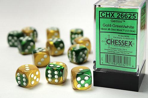 Chessex 12D6 Set Gemini Gold-Green/White 26625