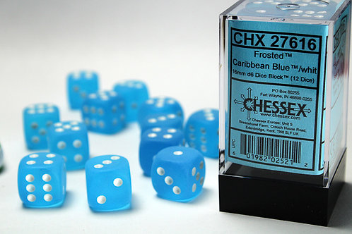 Chessex 12D6 Set Frosted Caribbean Blue/White 27616