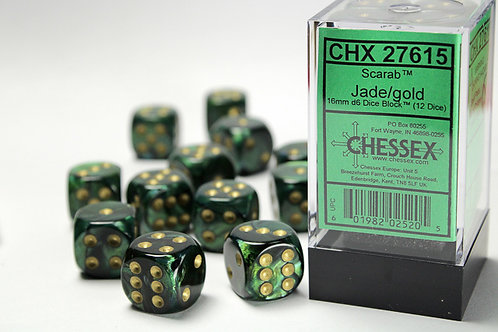 Chessex 12D6 Set Scarab Jade/Gold 27615