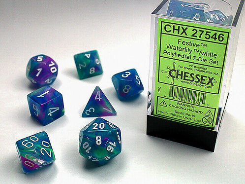 Chessex Polyhedral Set Festive Waterlily/White 27546