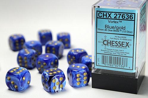 Chessex 12D6 Set Vortex Blue/Gold 27636