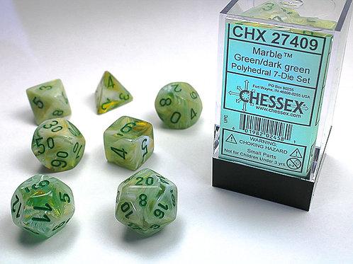 Chessex Polyhedral Set Marble Green/Dark Green 27409
