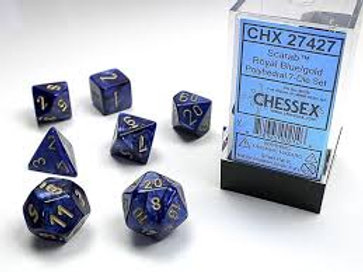 Chessex Polyhedral Set Scarab Royal Blue/Gold 27427