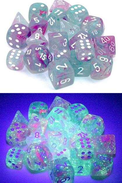 Chessex Polyhedral Set Luminary Nebula Wisteria/White 27545