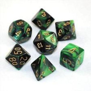 Chessex Polyhedral Set Gemini Black-Green/Gold 26439