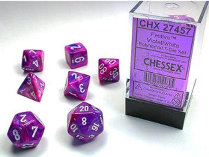 Chessex Polyhedral Set Festive Violet/White 27457